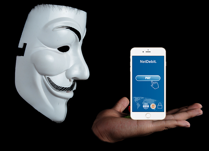 Mask Anonymous and smartphone with booking mask